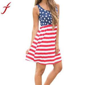 Hot American Flag Printing Womens Summer Dress 2017 Vintage Sexy Sleeveless Fit and Flare Cotton Mini Dress Femme Vestidos - visitors