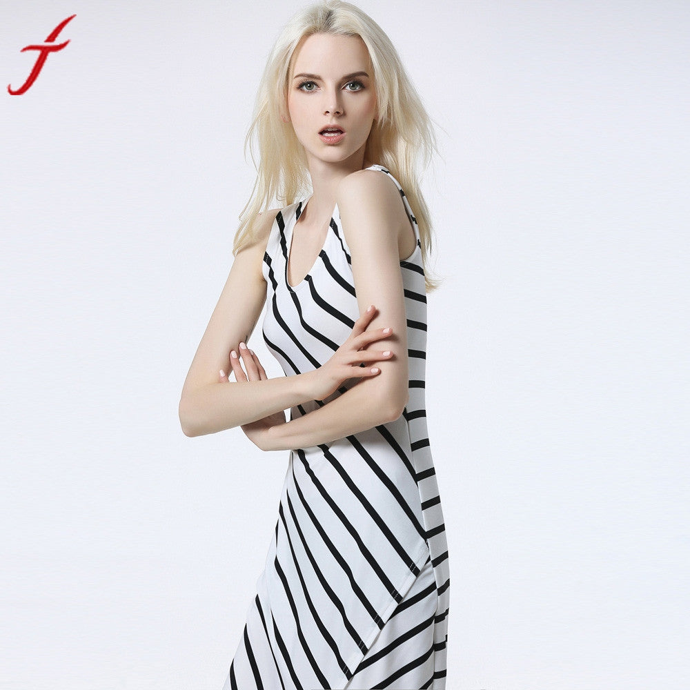 Women Summer Dress 2017 Sexy Sleeveless Asymmetrical Stripes Long Beach Dress Split Ankle-Length Sundress White vestidos - visitors