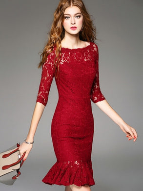 Country Elegance, Red Lace Dress - visitors