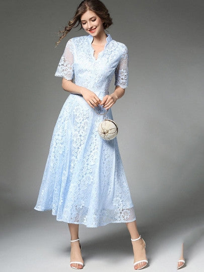 Country Elegance, Light Blue Half Sleeve Lace Dress - visitors