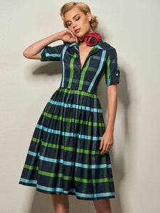 Plaid Lapel Women's Vintage Dress - visitors