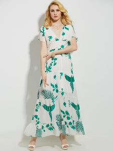 Pleated Vacation Plant Print A-Line Women's Maxi Dress - visitors