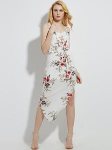 Spaghetti Strap Vacation Flower Print Asymmetric Women's Maxi Dress - visitors