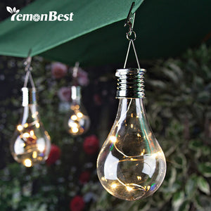 Lemonbest Solar Light Bulb Waterproof Solar Rotatable Outdoor Garden Camping Hanging LED Light Lamp Bulb (Warm White) With Hook - visitors
