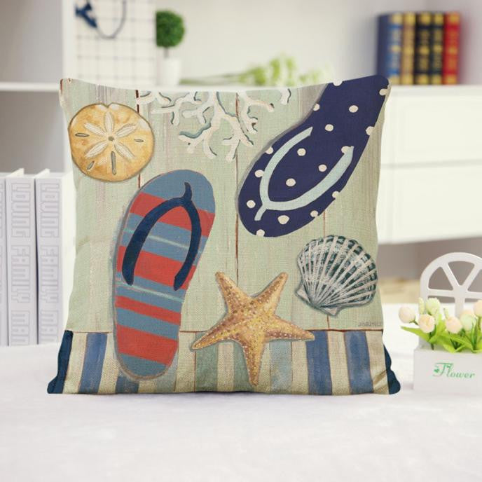 Marine Style Cotton Linen Cushion Cover Throw Waist Pillow Case Sofa Home Decor - visitors