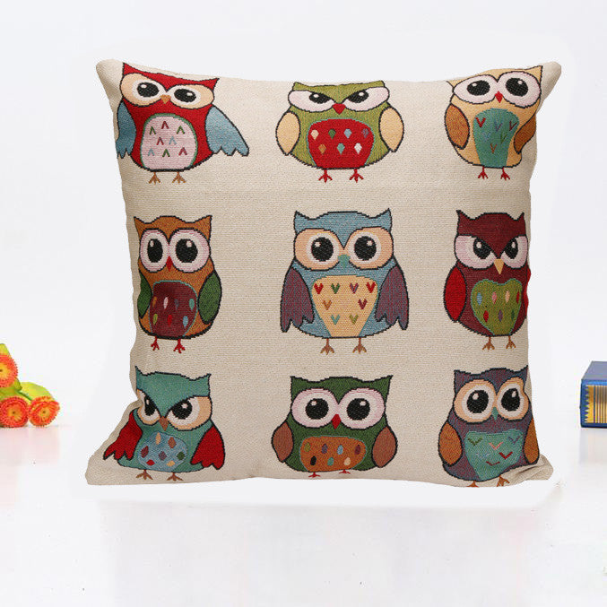 Home Car Bed Vintage 45x45cm Decorative Owl Pillow Case Cushion Cover - visitors