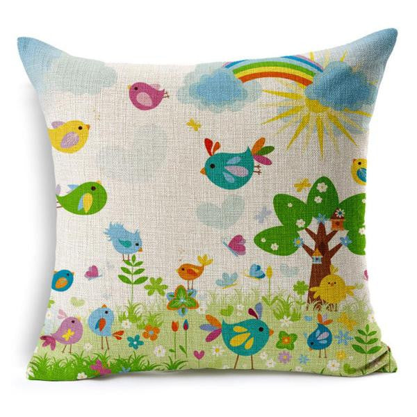 Spring Cushion Bed Car Printed Cotton Linen Sofa Vintage Pillowcovers - visitors