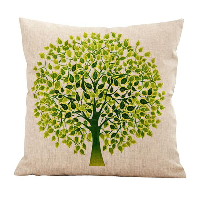 Flower Tree Pillow Case Sofa Waist Throw Cushion Cover Home Decor - visitors