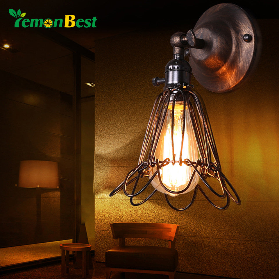 Lemonbest Vintage Lamp Holder Metal Wall Sconce Vintage Small Cage Birdcage Design E27 Lamp Holder Socket For Retro Edison Light - visitors