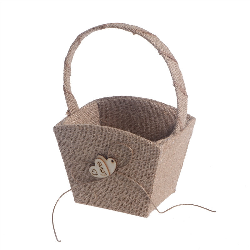 Vintage Wedding Burlap Hessian Flower Girl Basket Wooden Heart - visitors