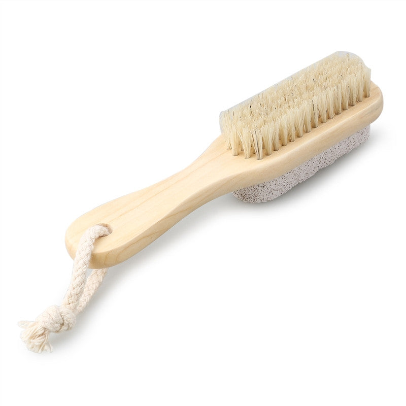 Natural Boar Bristle Body Foot Brush with Wooden Handle - visitors