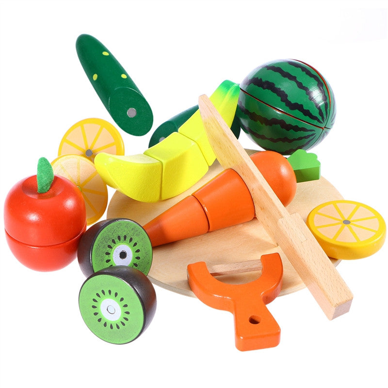 Wooden Cutting Fruit Vegetable Pretend Play Children Kid Educational Toy - visitors