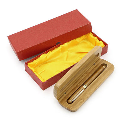 Medium Nib Fountain Pen Natural Bamboo Writing Pen with Converter and Case (Red Packed) - visitors