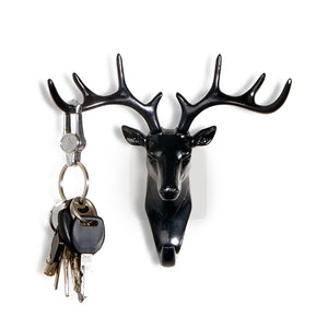 Vintage Deer Head Antlers Wall Hook for Hanging Clothes Hat Scarf Key Deer Horns Hanger Rack Wall Decoration - visitors