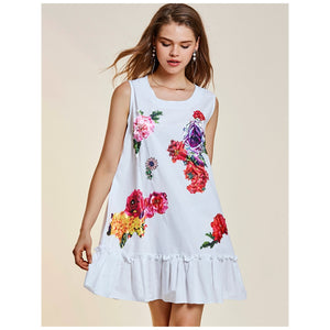 Malibu Vineyard, Short White Peplum Dress - visitors