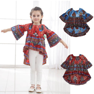 Children Infant Kid Girls Peacock Print Half Lantern Slevee Formal Dress Clothes - visitors