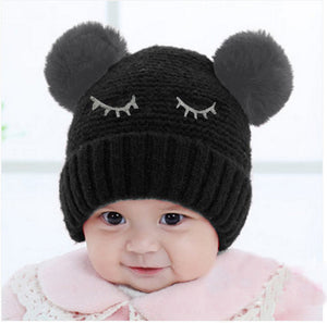 Children Baby Novelty Winter Beanie Gilrs Boys With Faux Fur Kniting Hat - visitors