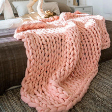 Chunky Hand Knitted Blanket  - 100x100cm/39.4x39.4in - visitors