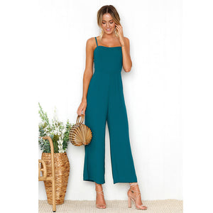 Womens Straps Zipper Holiday Playsuit Ladies Long Beach Jumpsuit - visitors