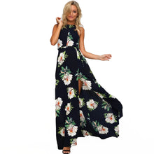 Women Chiffon Dress Floral Print Halter Sleeveless Split Backless Hollow Out Beach Maxi Gown Elegant Party One-Piece - visitors
