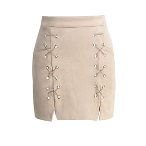 Malibu Casual, Lace Up Suede Leather Pencil Skirt with Zipper - visitors