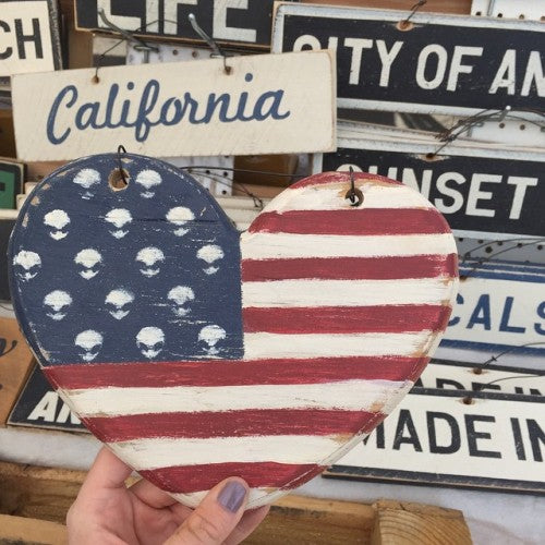 Heart Shaped American Flag Weathered Sign - visitors
