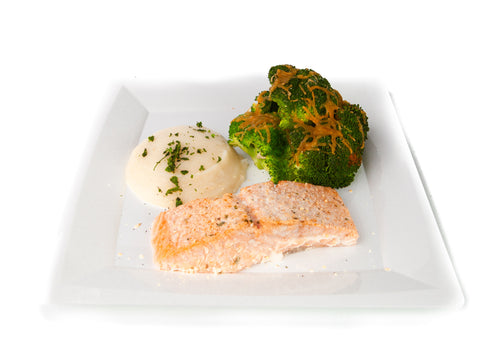 Salmon with Cheesy Broccoli and Mashed Cauliflower