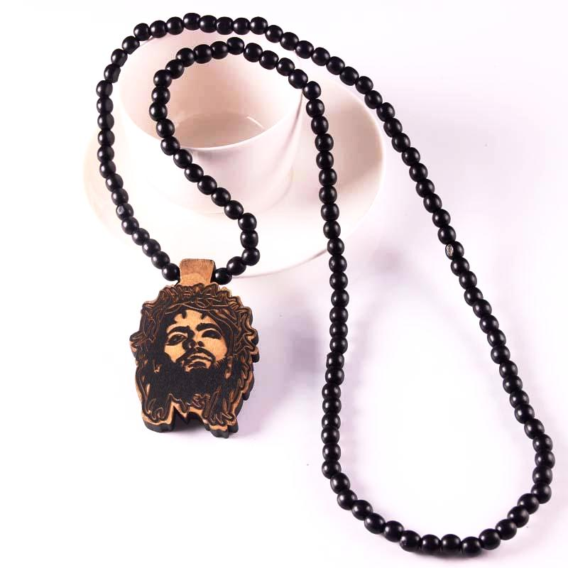 Wooden Necklace with Laser Engraved Face of Jesus