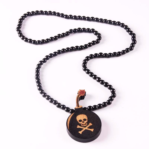 Trendy Wooden Beads Necklace with a Laser Engraved Skull Pendant