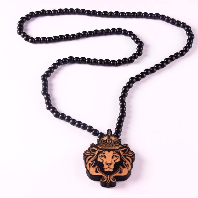 Wooden Lion Head Necklace