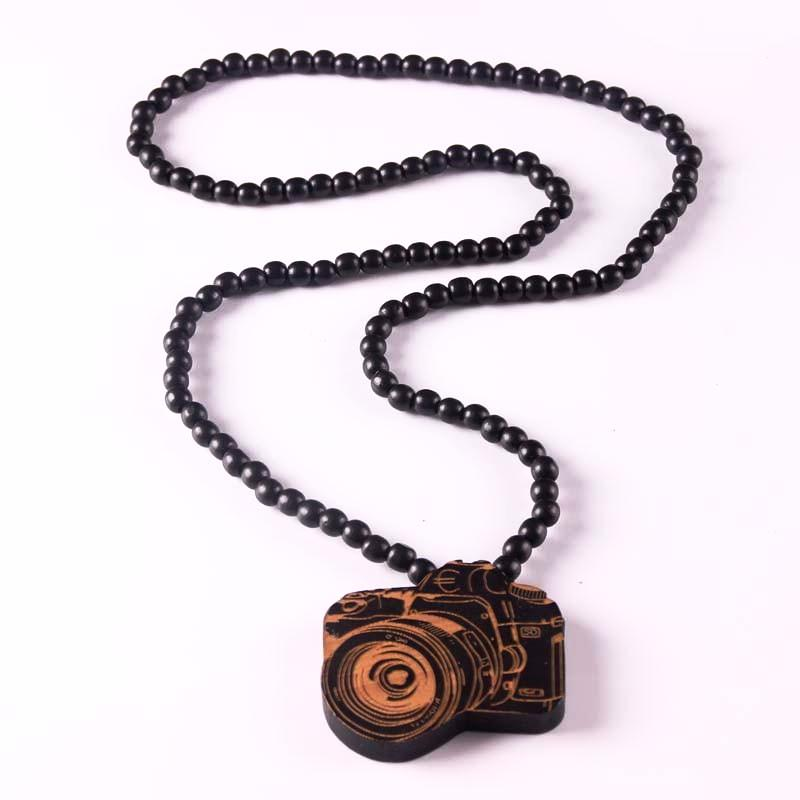 Wooden Beads Necklace with a Laser Engraved Camera Pendant