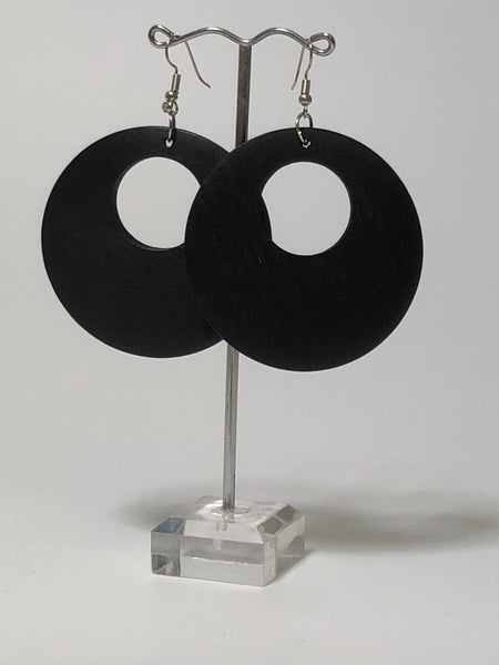 black doughnut wooden earrings