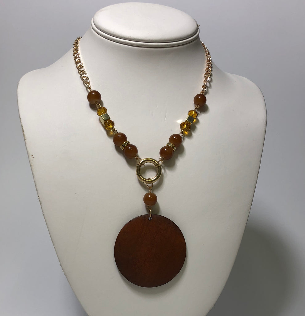 Light Brown Wooden Circle Necklace