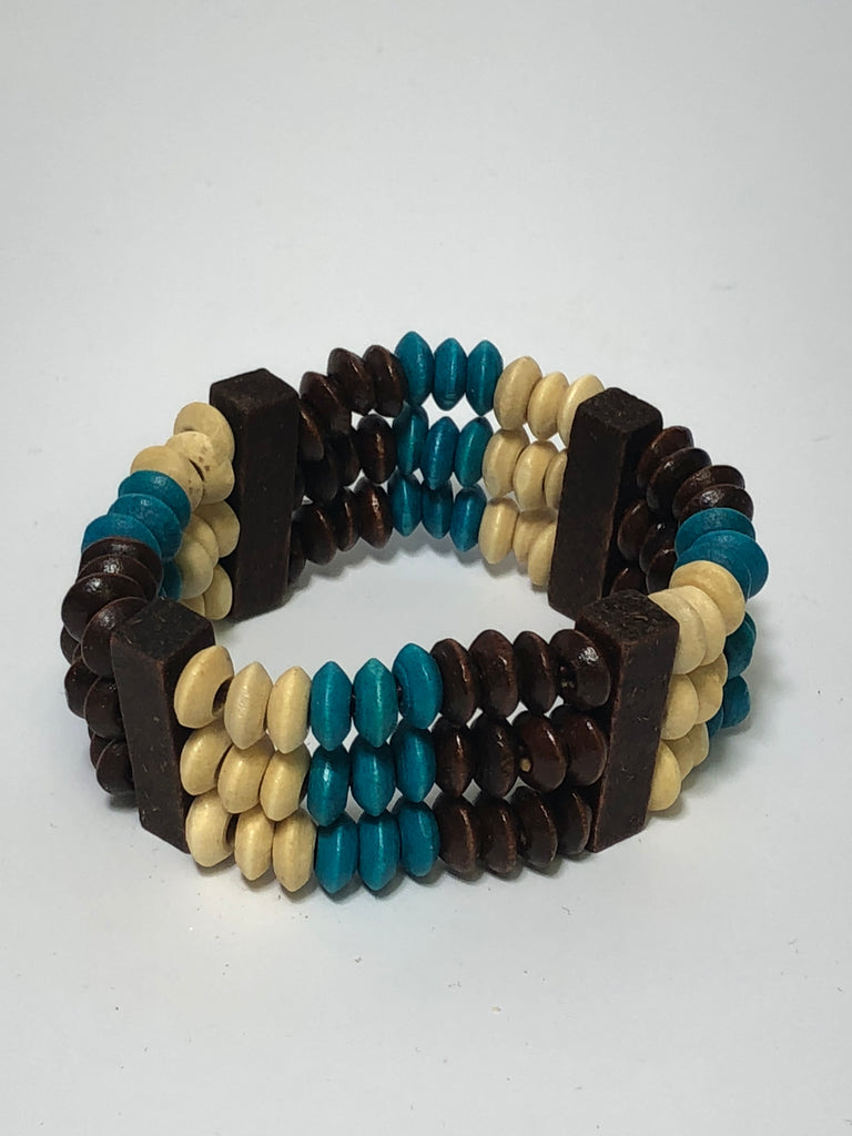 Blue and Brown Multi Layer African Style Wooden Stretch Bracelet