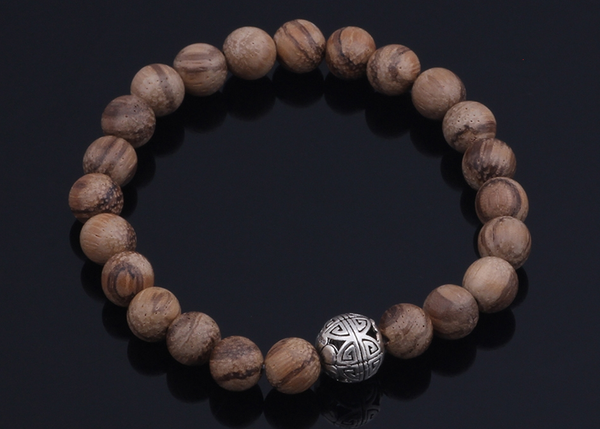 Natural Wood Bead Bracelet with Sterling Silver Charm