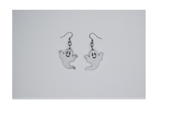 Wooden Ghost Earrings
