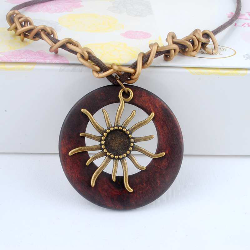 Long Chain Necklace with sun on wooden pendant