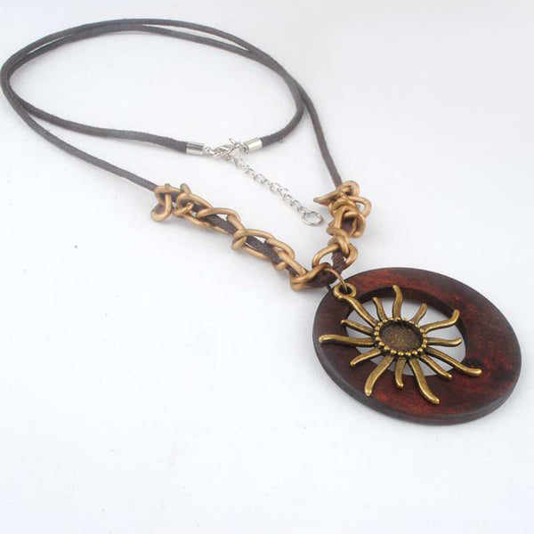 Elegant Wooden Long Chain Necklace