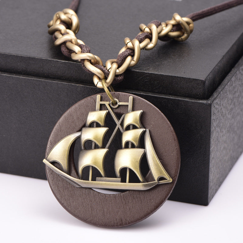 Wooden Necklace with Ship Pendant