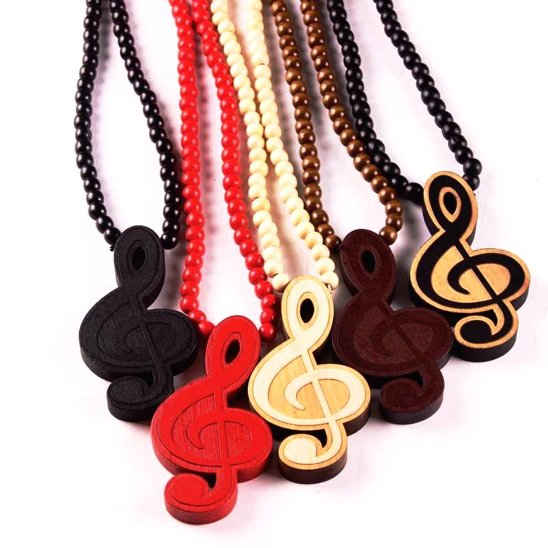 Trendy Wooden Necklace with G Clef pendant