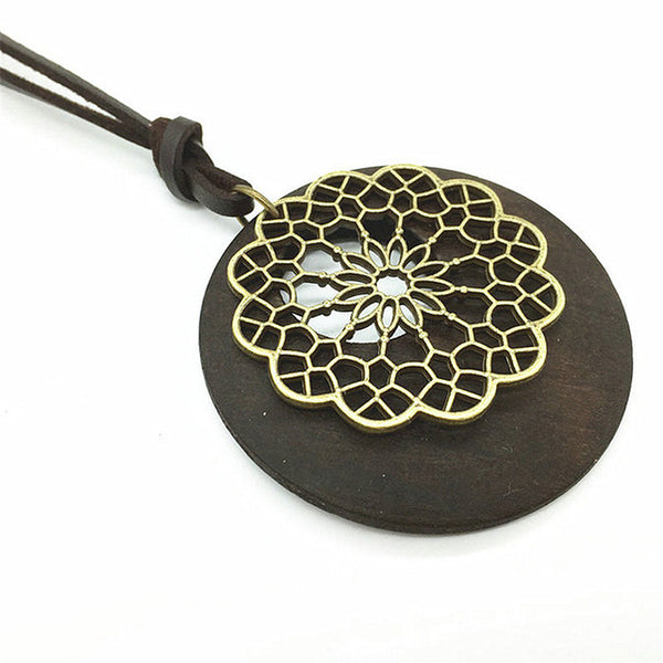 Elegant Leather Necklace with Handcrafted Wooden Pendant