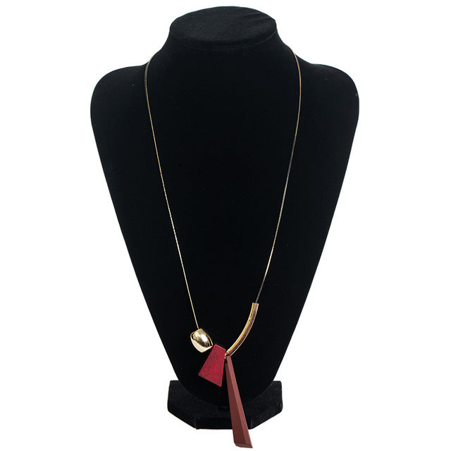 Stylish Long Wooden Necklace