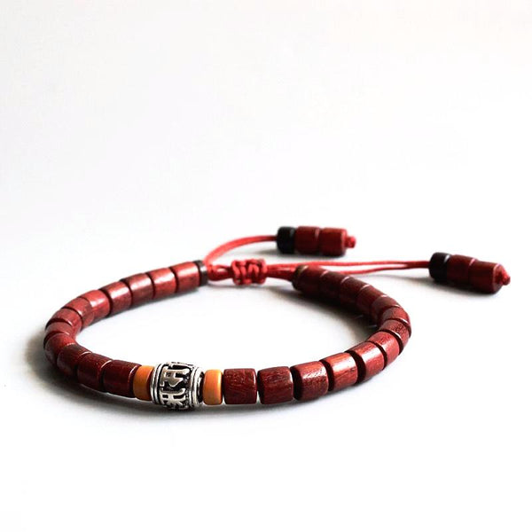 Wooden Bracelet with Mantra Charm
