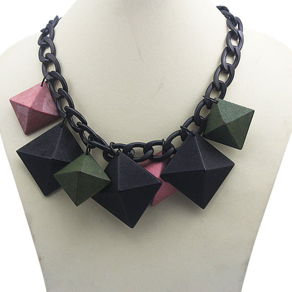 Long Chain Necklace with Pyramid style beads