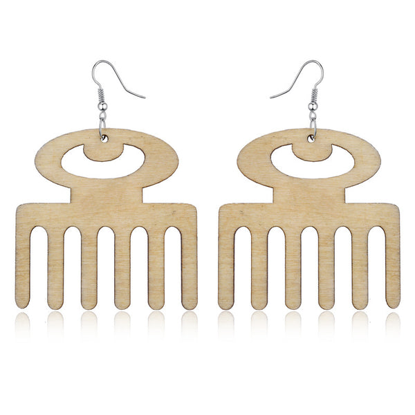 Classy Wooden Comb Drop Earrings
