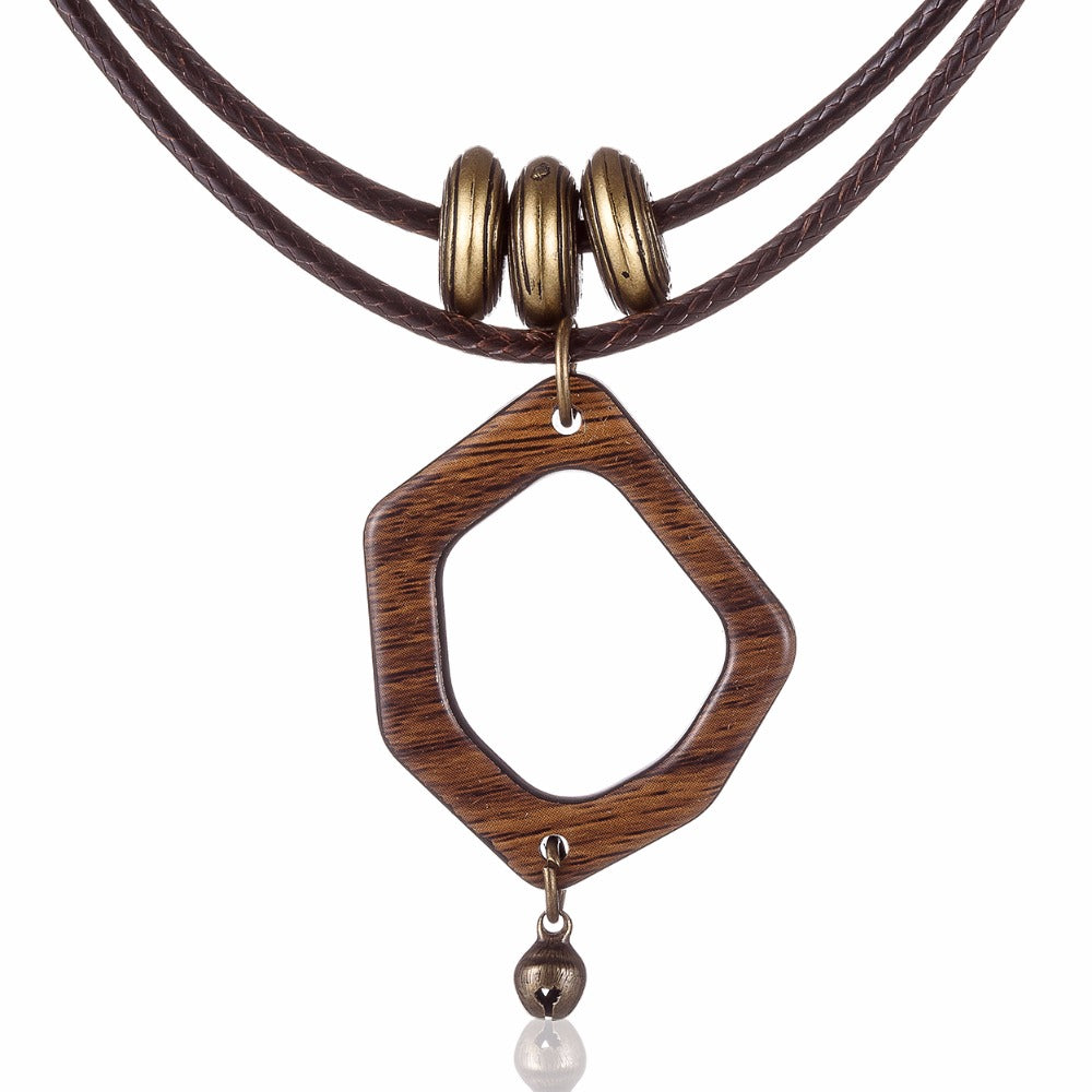 Wooden Choker Necklace with a Polygon Pendant