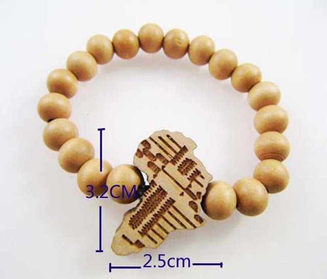 Wooden Bracelet with an African Map Pendant