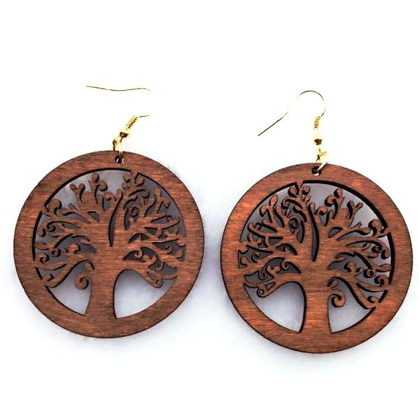 Wooden Tree Pattern Drop Earrings