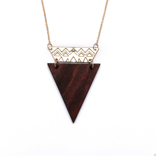 Necklace with Wooden Triangle Pendant