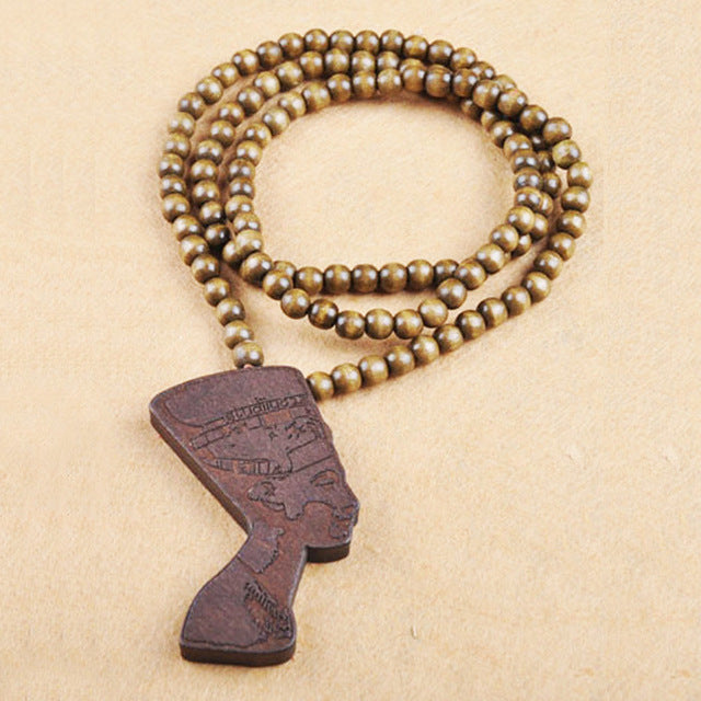 Wooden Bead Neckace with Cleopatra Pendant